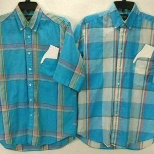 2 Levi Strauss Mens Shirts M Blue Plaid Button Up